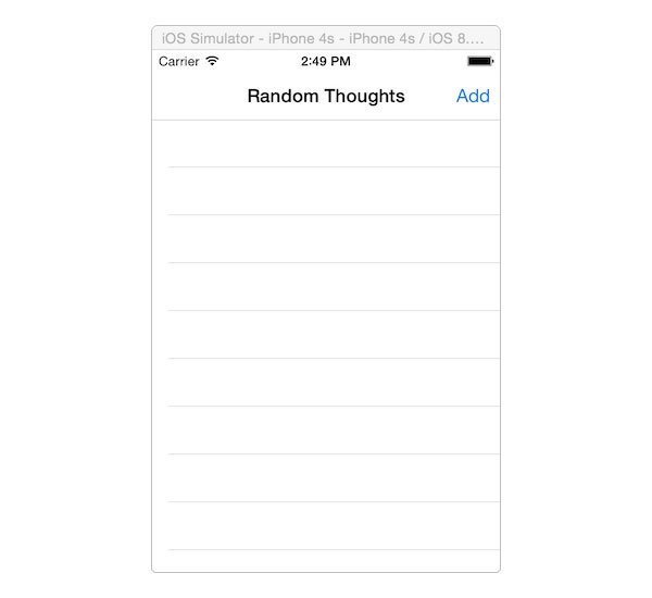 Random Thoughts page for iOS