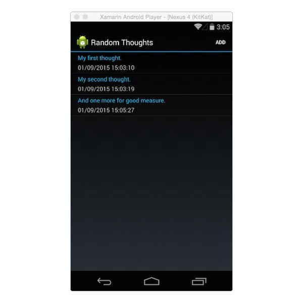 Listing thoughts on Android