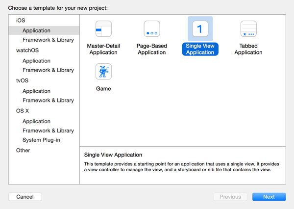 Choosing the Single View Application Template