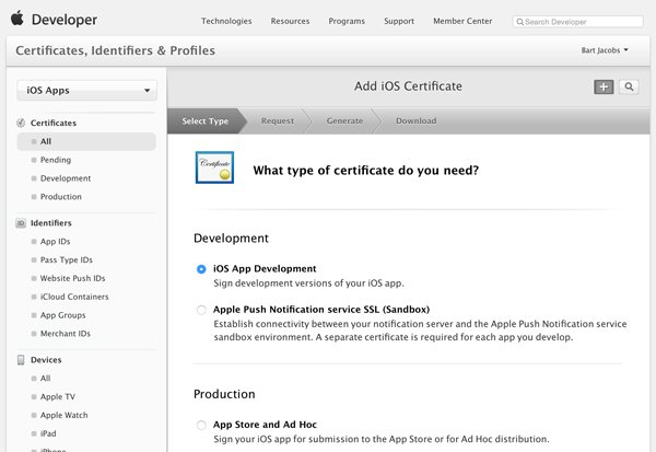 Choose the Certificate Type