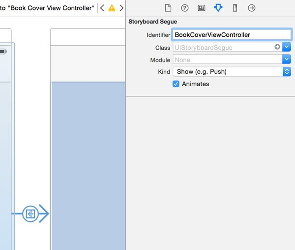 Creating a Segue to the Book Cover View Controller