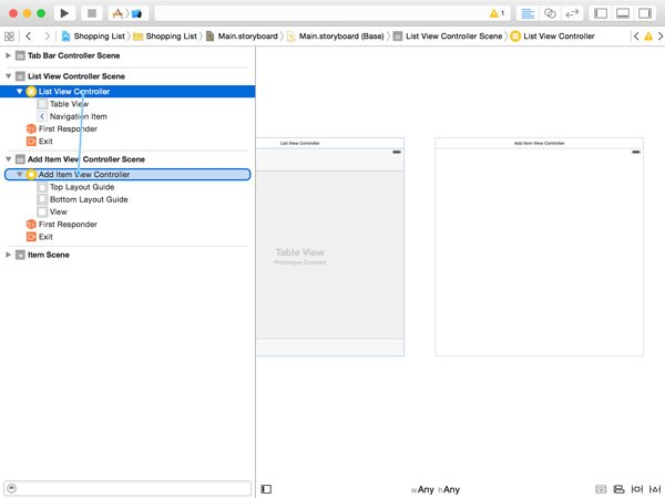 Creating a Segue to the Add Item View Controller