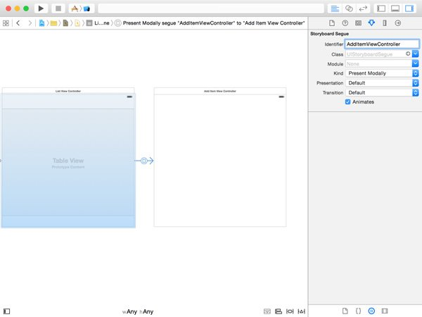 Configuring the Segue to the Add Item View Controller