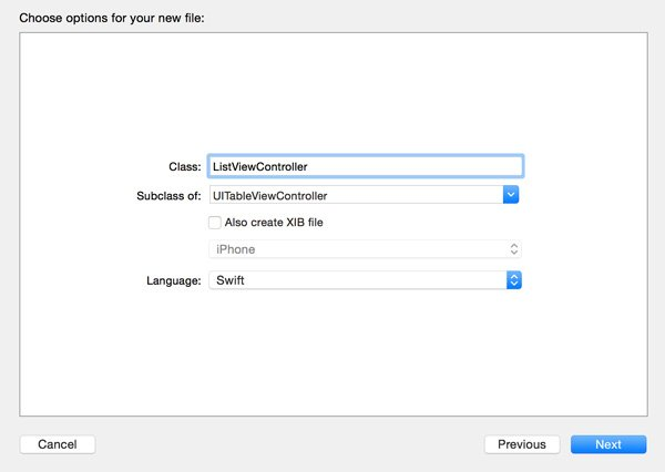 Configuring the List View Controller Class