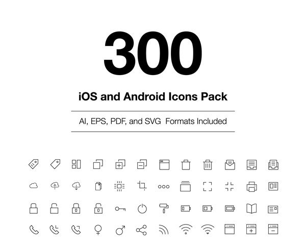 300 iOS and Android Vector Icons