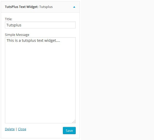 Our widgets back-end configuration form
