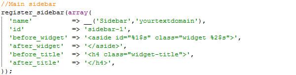 Sample register_widget declaration
