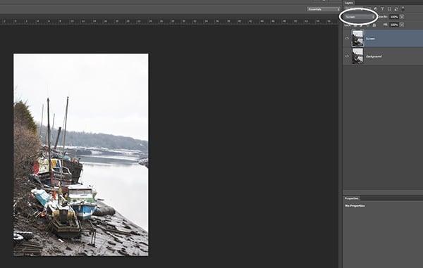 Screen blending mode