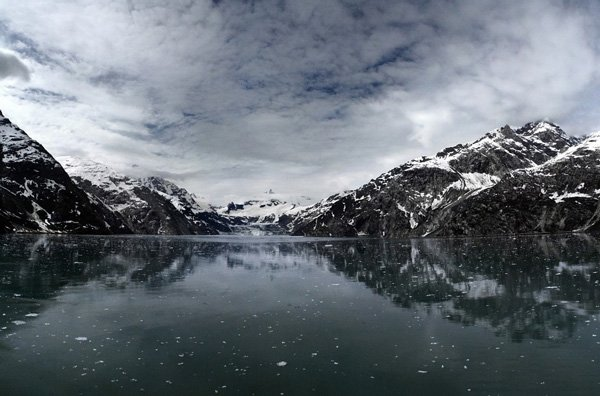 mountains and lake in snow