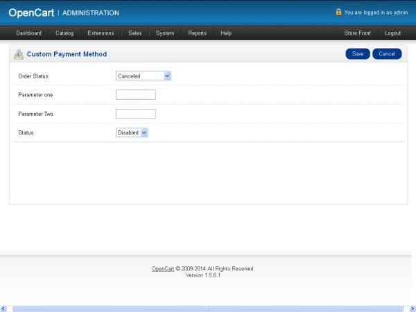 Custom Payment Method Configuration Form