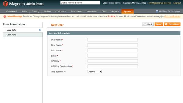 Add New User - User Info