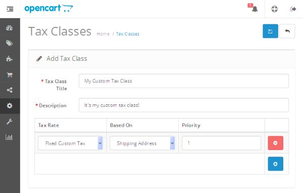 Add Tax Class