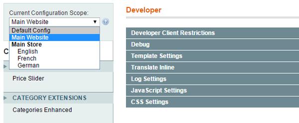 Setting Website Scope