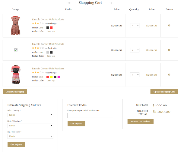 HTML Cart Page