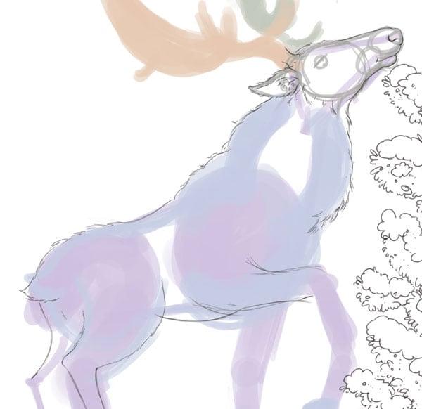 Deer line art started