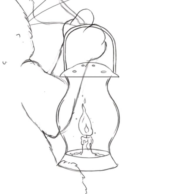 Complete lamp line art