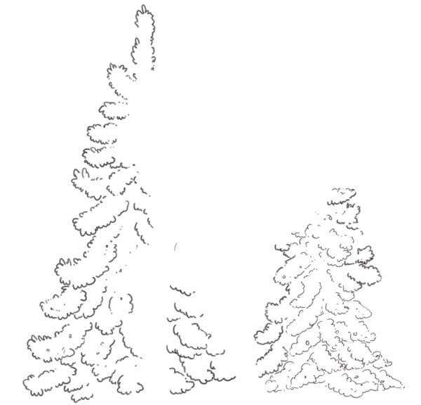 Background trees line art