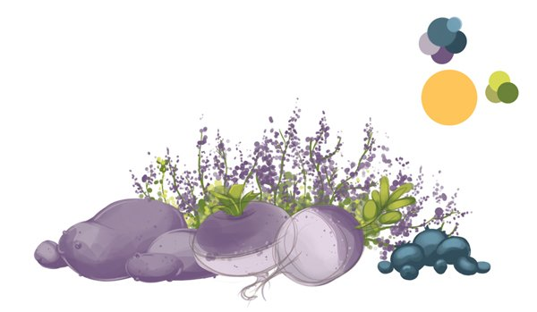 Extra heather flowers scaled down and lowered in opacity