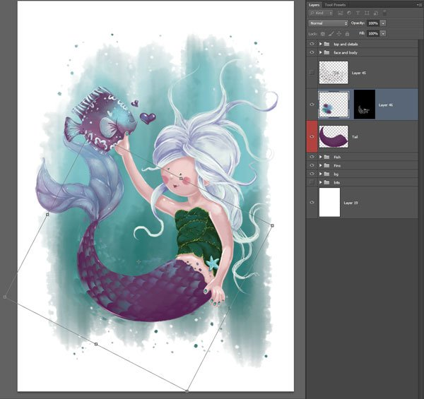 Transform colour layer only