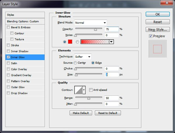 Create Red Inner Glow in Layer Styles