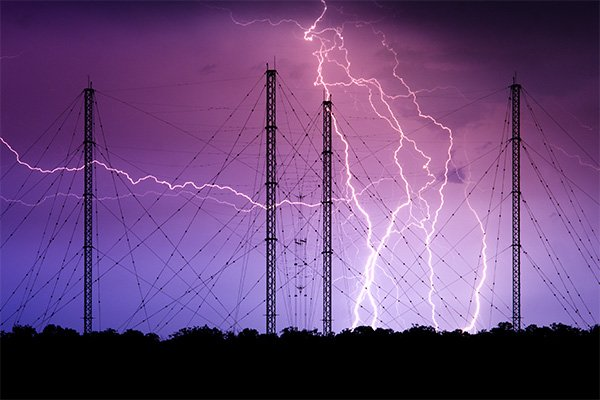 Image of lightning over electric power lines