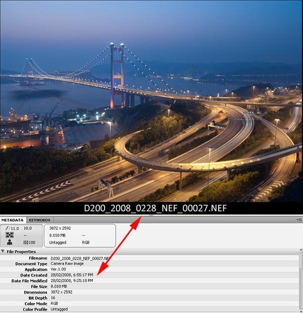 Image showing file naming data