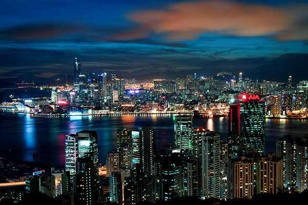 Kowloon penisula at night