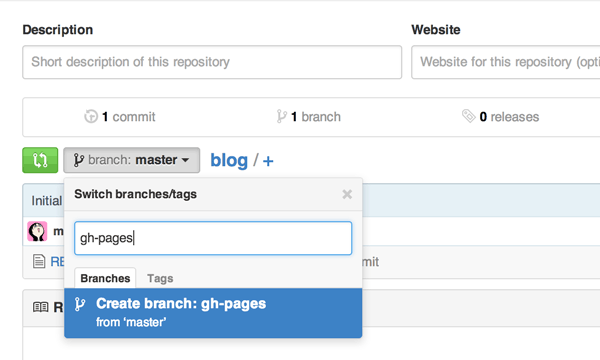 Add a new branch gh-pages