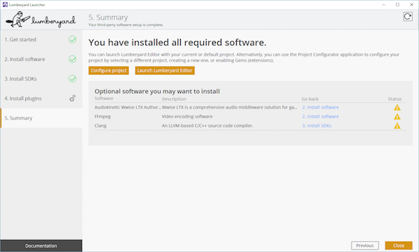 A summary of the software thats been installed