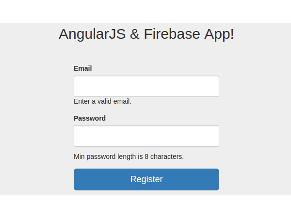 AngularJS Firebase App register page