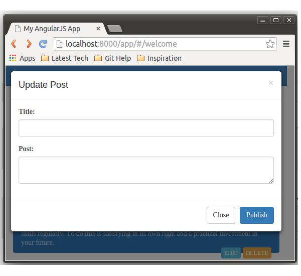 Edit Blog post Pop up