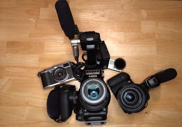 Camera gear including DSLR video camera