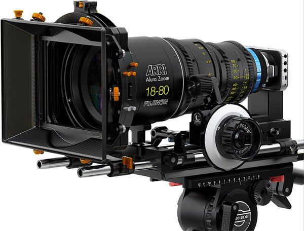 The tiny Blackmagic Pocket Cinema Camera rigged out for a professional shoot