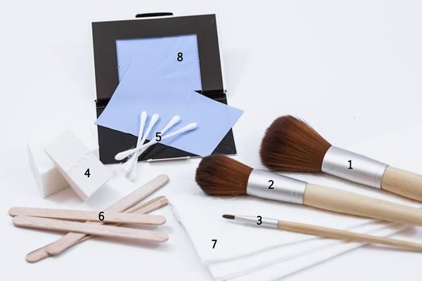 A basic tool kit for applying makeup