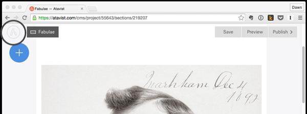 Atavist story page with Atavist logo highlighted