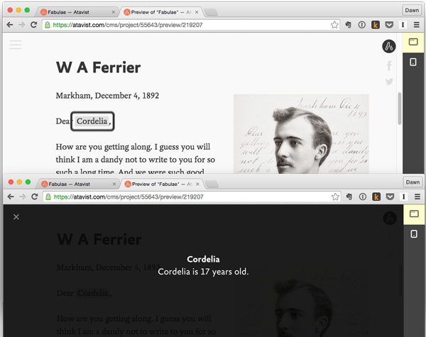 Atavist story preview showing pop-up annotation