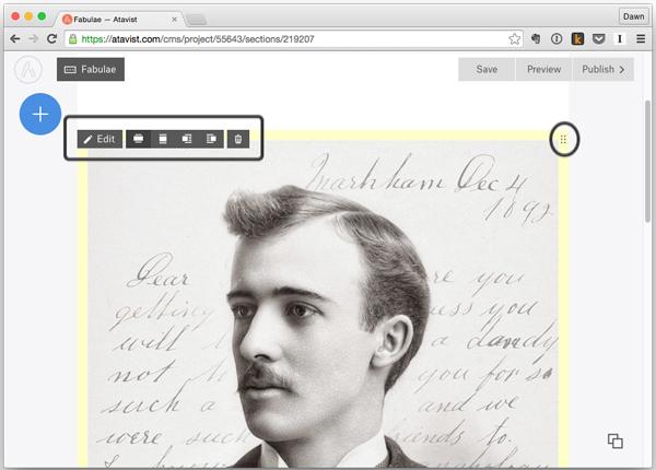 Atavist story page showing options for placing design blocks