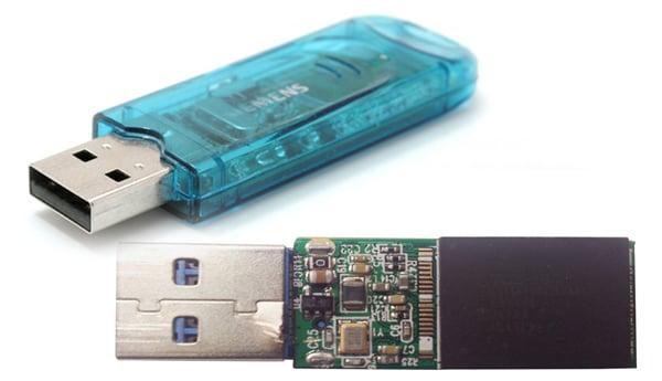 USB flash drive interior and exterior