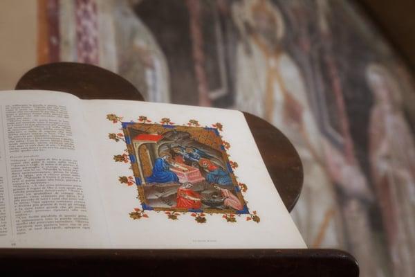 Illuminated manuscript and painted wall frescoes