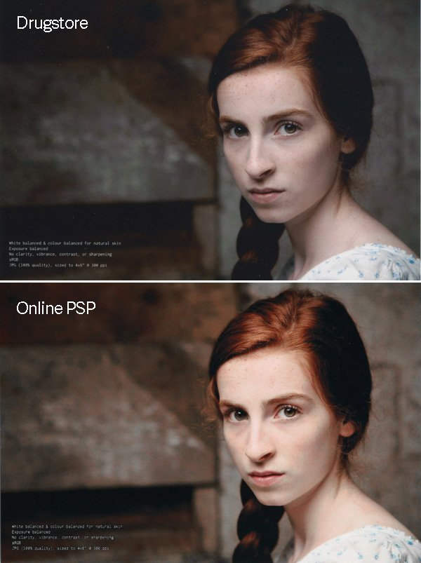 Photo of a fair-skinned model printed by a drugstore and by an online print service provider