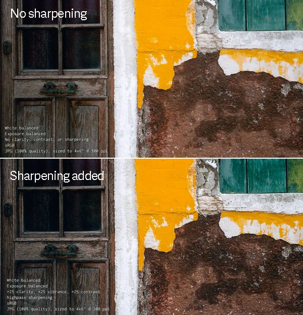 Photo of a house exterior processed with and without sharpening