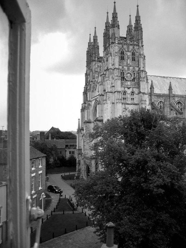 Exterior of Canterbury Cathedral as seen from a residential window