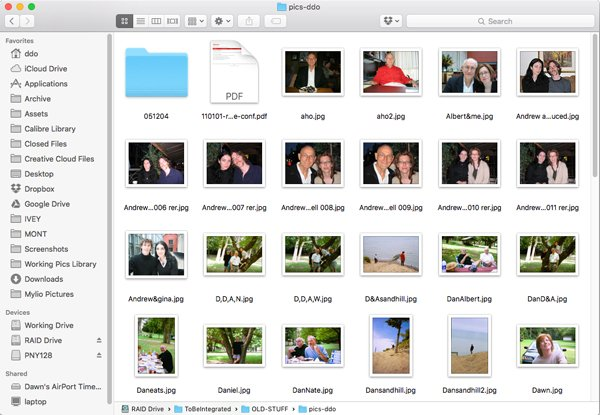 File manager with disorganized image files
