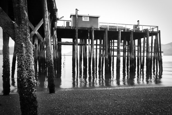 A digital photograph of a pier at low tide processed as black and white