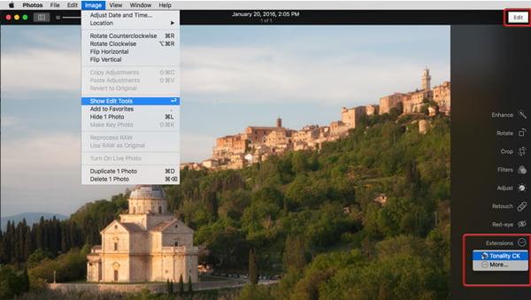 Photos window showing menu selection and editing tools