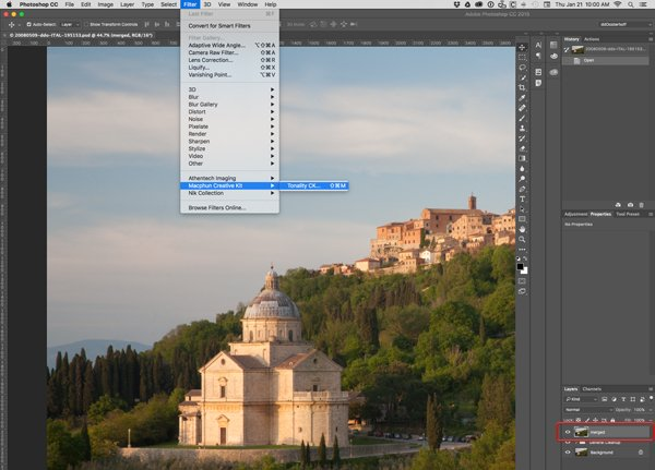 Photoshop window showing menu and layer selection
