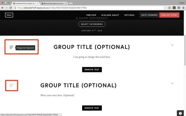 Text alignment menus