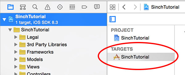 Select the SinchTutorial Target