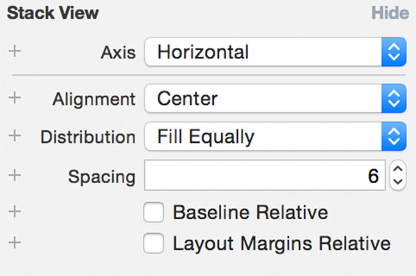The options of a stack view