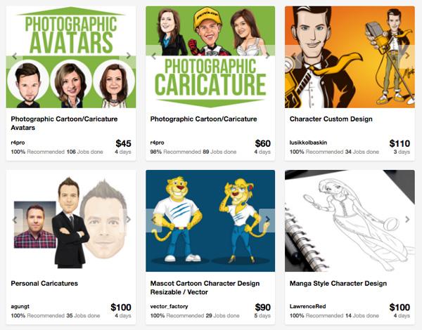 professional cartoonists on Envato Studio
